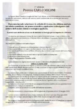 1ª edizione Premio CARLO MICONI per una tesi di dottorato in Enologia