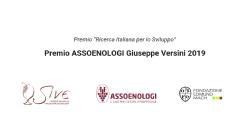 "VII Premio ""Ricerca Italiana per lo Sviluppo"": Premio ASSOENOLOGI Giuseppe Versini 2019"