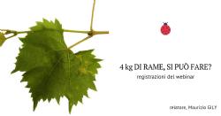 Registrazioni del webinar: Quattro kg di Rame: si può fare?