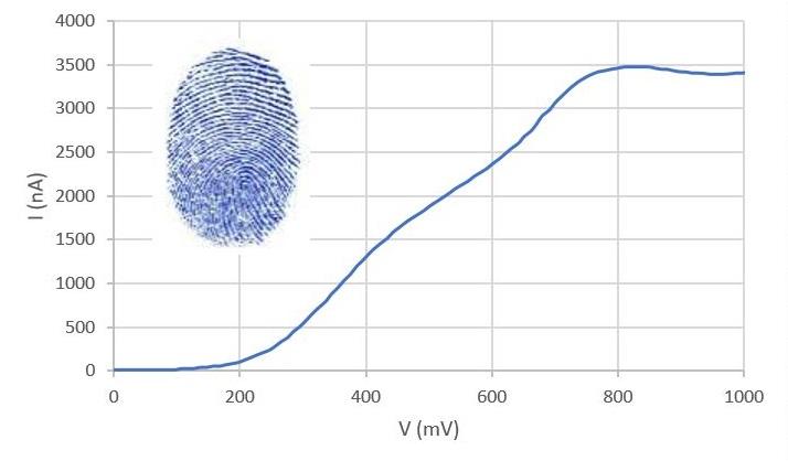 Figura 1: Ejemplo de curva de intensidad vs potencial obtenida en una muestra de vino