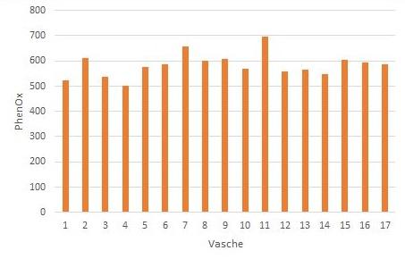 Figura 7: Livelli di EasyOx e PhenOx di 17 vasche di Tempranillo dello stesso produttore. La linea arancione rappresenta la media dei valori dell'indice rilevato su questo vitigno nella fase del processo osservata. La freccia arancione indica la vasca 7, che ha un grado di PhenOx superiore alla media e uno di EasyOx prossimo alla media. La freccia verde indica invece la vasca 17, che ha un grado di PhenOx prossimo alla media e uno di EasyOx superiore alla media.
